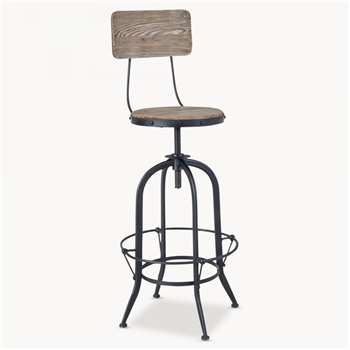 Woodcroft Metal and Bleached Pine Swivel Bar Stool (127 x 46cm)