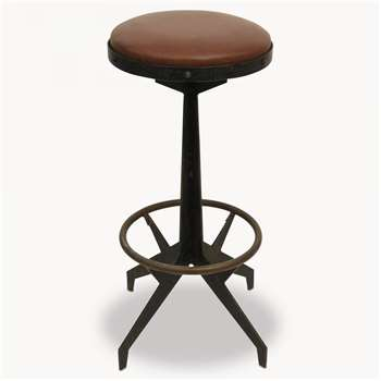 Woodcroft Metal Stool with Leather Seat (78.5 x 48.5cm)