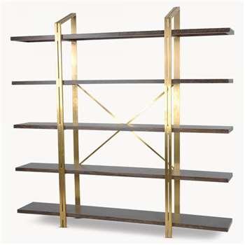 Woodcroft Oak and Brass Storage Shelf Unit (H210 x W212 x D35.4cm)