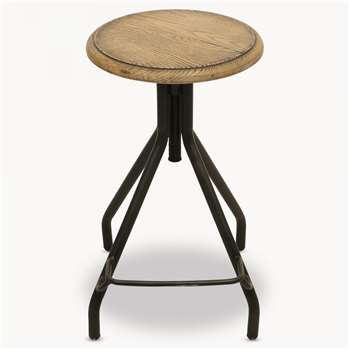 Woodcroft Oak Stool with Foot Rest (H78.5 x W35 x D35cm)
