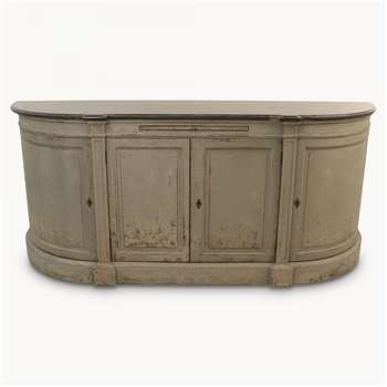 Woodcroft Rounded 4-Door Grey Sideboard with Stone Top (H85 x W196 x D50cm)