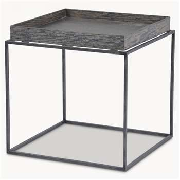 Woodcroft Rustic Black Tray Top Accent Table (H45 x W45 x D45cm)