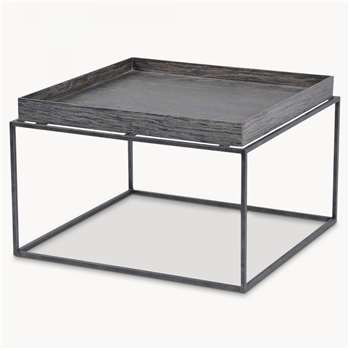 Woodcroft Rustic Black Tray Top Table (H35 x W55 x D55cm)
