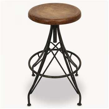 Woodcroft Stool with Wooden Top (H76 x W35 x D35cm)