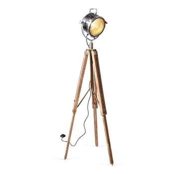 Wooden Industrial Tripod Floor Lamp 150 x 22cm