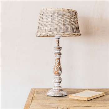 Wooden Lamp with Woven Shade (H45 x W25 x D25cm)