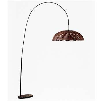 Wooden Pendant Arc Floorlamp (H223 x W123 x D83cm)