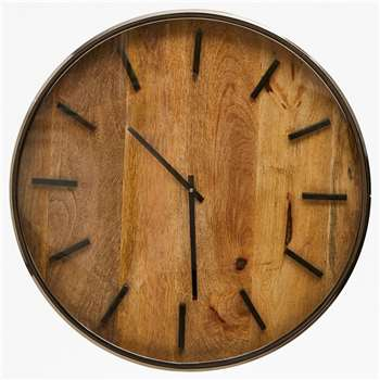 Wooden Slatted Clock (H41 x W41 x D5cm)