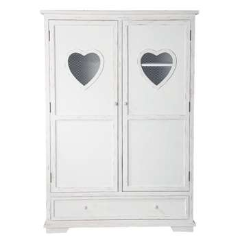 Wooden Wardrobe in White (H186 x W130 x D52cm)