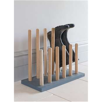 Wooden Welly Rack in Charcoal - Raw Oak (48 x 56cm)