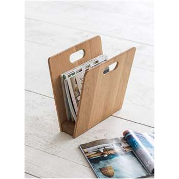 Woodstock Magazine Rack - Raw Oak (35 x 35cm)
