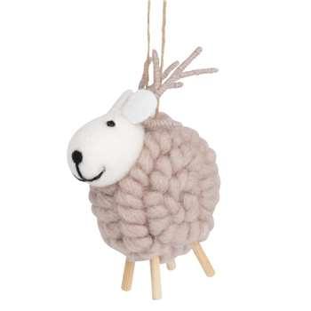Woollen Reindeer Hanging Christmas Decoration (H12 x W10 x D9.5cm)