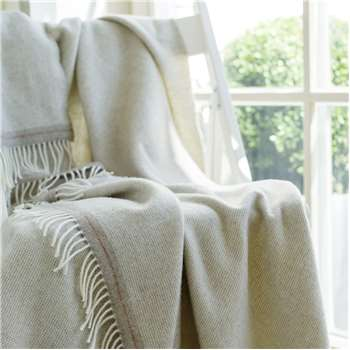 WoolMe Beige, Silver Cashmere Merino Wool Throw Everest Square (130 x 180cm)