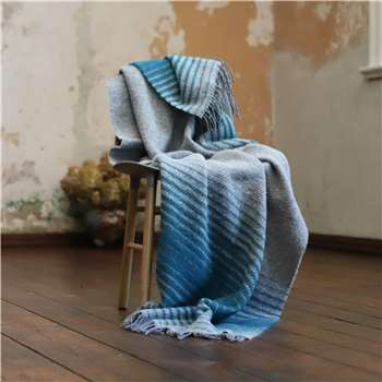 WoolMe Gold, Turquoise Grey Wool Throw Alberto (130 x 200cm)