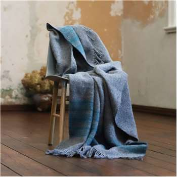 WoolMe Gold, Turquoise Grey Wool Throws Federico (130 x 200cm)