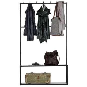 Woood - Teun Black Metal Coat Stand with Bench (H174 X W100 X D35cm)