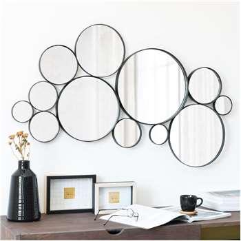 Wordly - Round Black Metal Mirrors (H42.5 x W89.7 x D3.2cm)