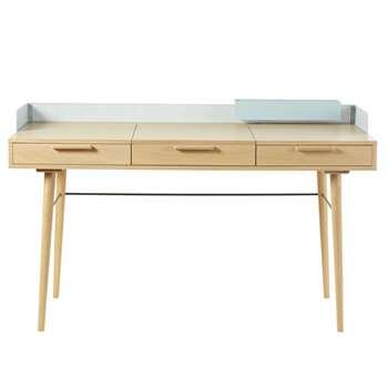 WORKSHOP Grey-Green Metal 2-Drawer Desk (H84 x W140 x D55cm)