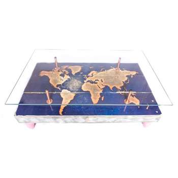 Cappa E Spada - World Map Coffee Table with Glass Top (H38 x W114.3 x D71cm)