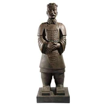Xian Warrior Fibre Clay Statue in Brown (H124 x W41.5 x D34.5cm)