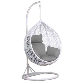 Yaheetech White Rattan Hanging Swing Chair, Stand, Cushion and Cover (H194.5 x W94.5 x D94.5cm)