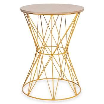 YANN mustard yellow metal and imitation wood end table (47 x 35cm)