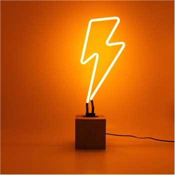 Yellow Neon Lightening Bolt Light (H48 x W10 x D10cm)