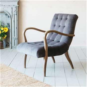 York Grey Velvet Armchair (H84 x W65 x D84cm)