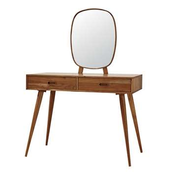 YUCCA Solid Acacia Vintage 2-Drawer Dressing Table (147 x 105cm)