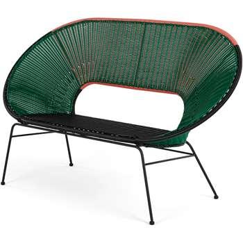 Yuri Garden Bench, Multi Woven Green (H95 x W156 x D70cm)