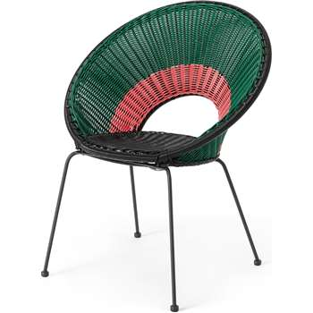 Yuri Garden Dining Chair, Multi Woven Pink (H84 x W69 x D58cm)