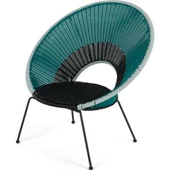 Yuri Garden Lounge Chair, Multi Woven Blue (H75 x W94 x D94cm)