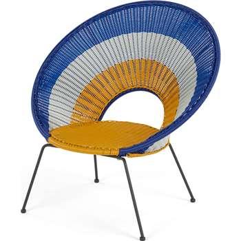 Yuri Garden Lounge Chair, Multi Woven Yellow and Mustard (H75 x W94 x D94cm)