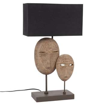 ZADAR - Double Mask Lamp with Black Shade (H52 x W31 x D13cm)