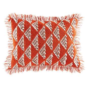 ZAIDA Red Woven Cotton Cushion with Graphic Motifs (35 x 50cm)