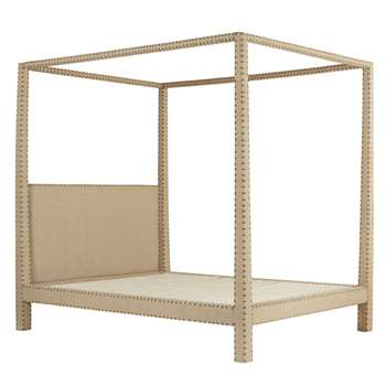 Zamindar Four Poster Bed, King With Mattress - Natural (211 x 224cm)