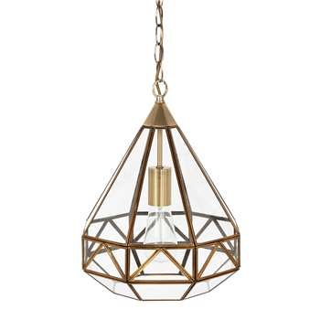 Zaria Antique Brass Glass Frame Pendant Light (80 x 30cm)