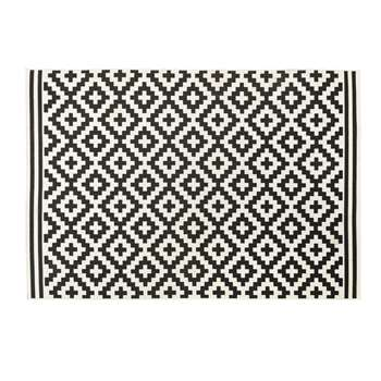 ZARIA White Outdoor Rug with Black Graphic Print (H160 x W230cm)