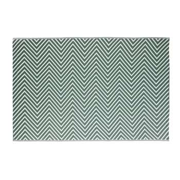 ZASTI Green Outdoor Carpet with White Graphic Motifs (180 x 270cm)