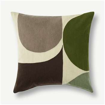 Zayyan Embroidered Cushion, Green & Grey (H45 x W45cm)