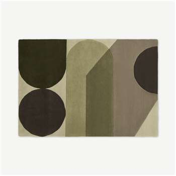 Zayyan Geometric Hand-Tufted Wool Rug, Green & Grey (H230 x W160cm)