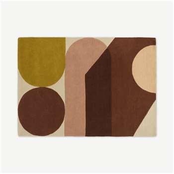 Zayyan Geometric Hand-Tufted Wool Rug, Terracotta (H230 x W160cm)