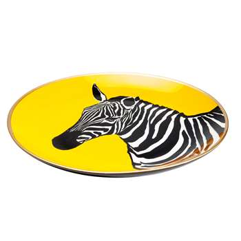 Zebra decorative plate yellow (30 x 30cm)
