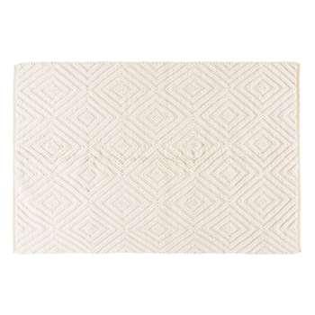 ZEINA Ecru Wool and Cotton Rug with Graphic Motifs (160 x 230cm)