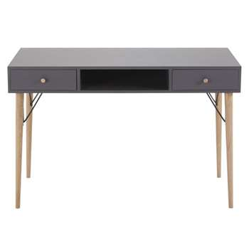 ZEN MARKET - Anthracite Grey Vintage 2-Drawer Desk (H78 x W120 x D55cm)