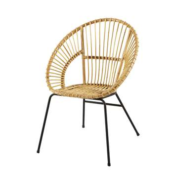 ZEN MARKET - Black Metal and Rattan Armchair (H85 x W66 x D64cm)