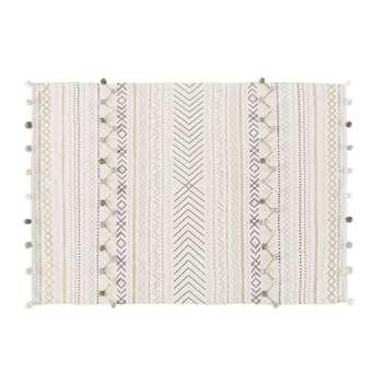 ZEN MARKET - Ecru Cotton Rug with Graphic Print (H120 x W180cm)