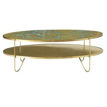 ZENITH - Oval Brass Coffee Table with Two Surfaces (H42 x W125 x D59cm)
