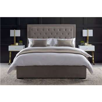 ZENO Upholstered Bed - Feather Grey (H130 x W143 x D205cm)
