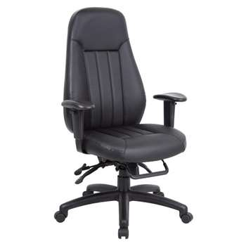 Zeus Managers Chair Leather Faced Black